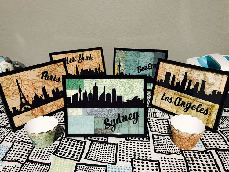 The expectant parents loved the framed skylines and have requested I make one with the new baby's name (once they decide on one).